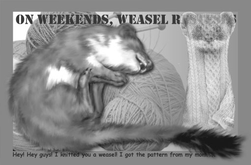 happy solstice -- I knitted you a weasel
