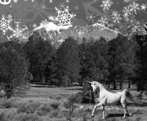 snowflakes and unicorn